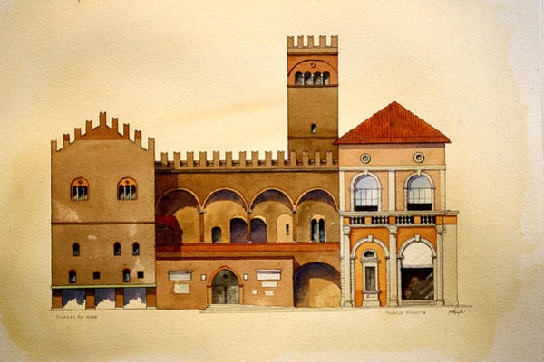 Painting - on Piazza Maggiore by William Renzulli