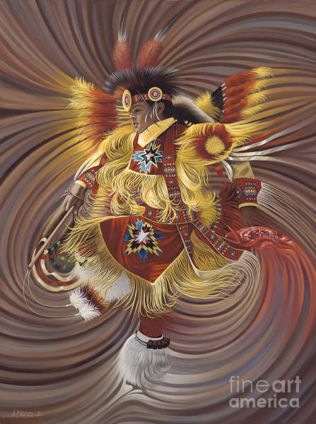 Fire Dance Wall Art - Painting - On Sacred Ground Series 4 by Ricardo Chavez-Mendez
