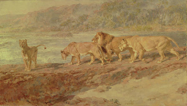Riviere Painting - On The Bank Of An African River by Briton Riviere