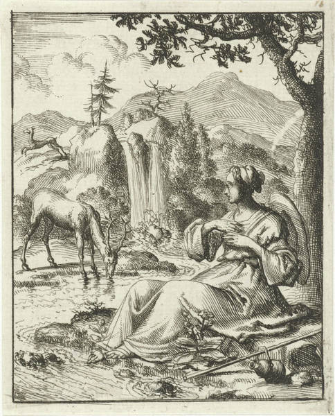 Wall Art - Drawing - On The Banks Of A Stream A Woman Sees A Deer Drinking by Jan Luyken And Pieter Arentsz Ii