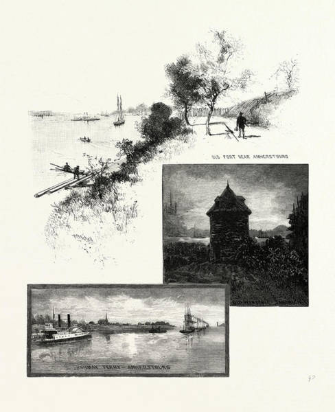 Wall Art - Drawing - On The Banks Of The Detroit, Railway Ferry, Amherstburg by Canadian School