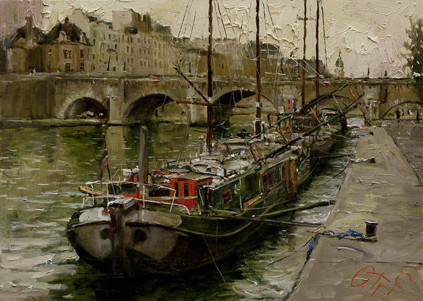 Russian Impressionism Wall Art - Painting - On The Banks Of The Seine by Oleg Trofimoff