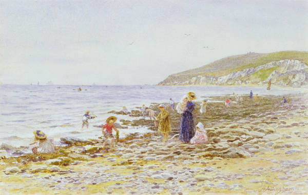 Spade Painting - On The Beach by Helen Allingham