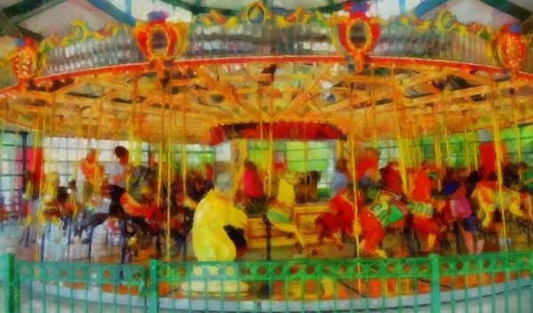 Wall Art - Painting - On The Carousel by Dan Sproul
