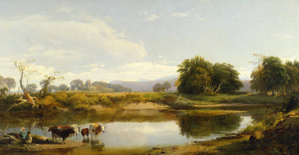 Catskills Painting - On The Esopus  Meadow Groves by William Hart