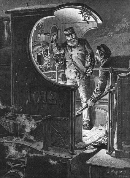 Night Time Drawing - On The Footplate A Driver And A Stoker by  Illustrated London News Ltd/Mar