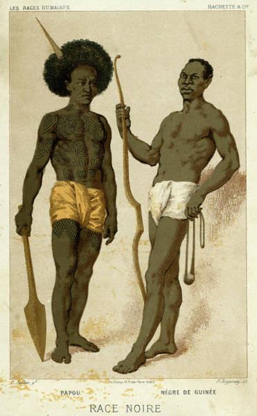 Wall Art - Drawing - On The Left, A Native Of  Papua by Mary Evans Picture Library