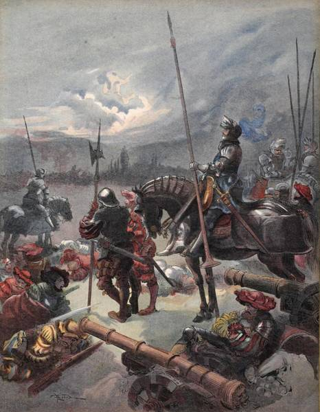 Horseback Drawing - On The Night Of Marignan, Illustration by Albert Robida