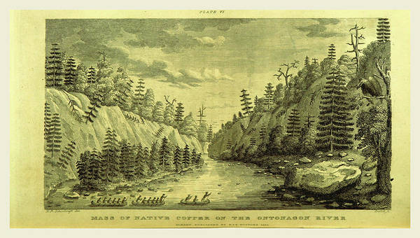 Mississippi River Drawing - On The Ontonagon River, Engraving 1821, Narrative Journal by Litz Collection