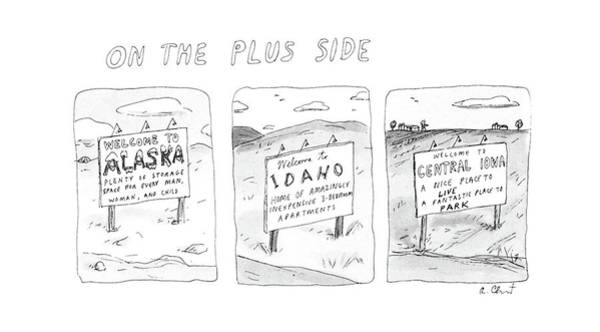 Side Drawing - On The Plus Side by Roz Chast