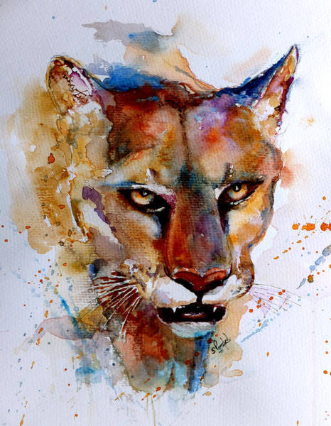 Mountain Lion Painting - On The Prowl by Steven Ponsford