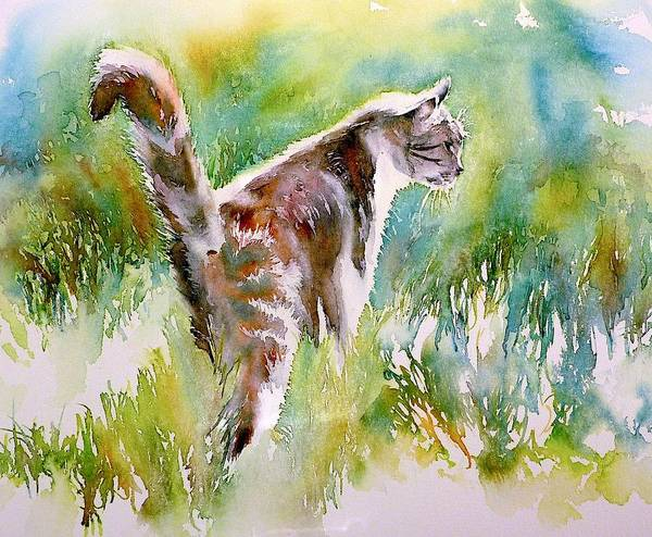 Wiese Wall Art - Painting - On The Prowl by Thomas Habermann