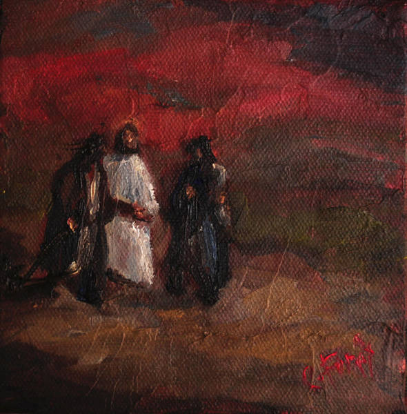 Wall Art - Painting - On The Road To Emmaus by Carole Foret