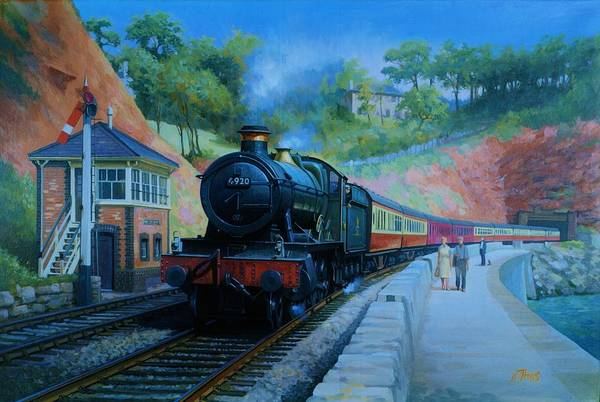 Vintage Train Painting - On The Sea Wall. by Mike Jeffries