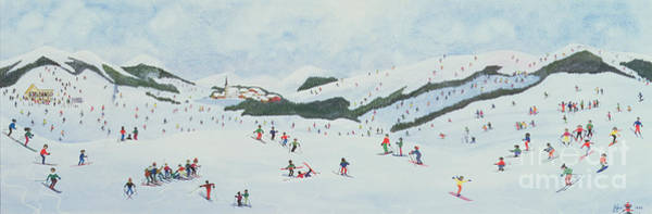 Naive Wall Art - Painting - On The Slopes by Judy Joel