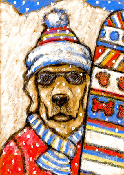Yellow Lab Mixed Media - On The Slopes - Yellow by Kathleen Harte Gilsenan
