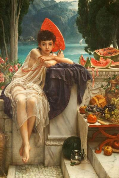 Melon Painting - On The Temple Steps, 1889 by Sir Edward John Poynter