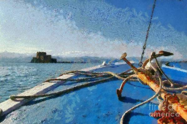 Peloponnese Painting - On The Way To Bourtzi Fortress by George Atsametakis