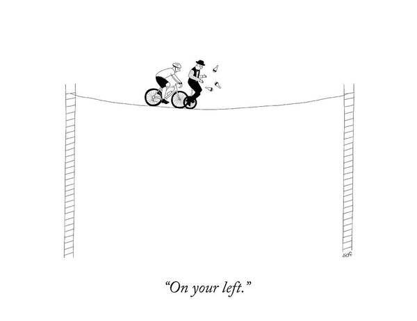 Bike Drawing - On Your Left by Seth Fleishman