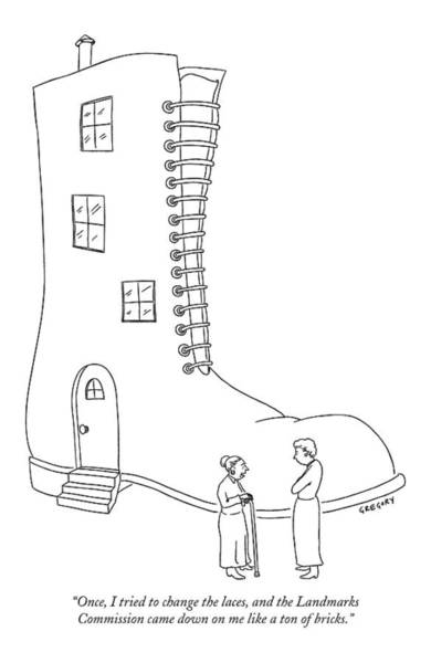 Landmark Drawing - Once, I Tried To Change The Laces by Alex Gregory
