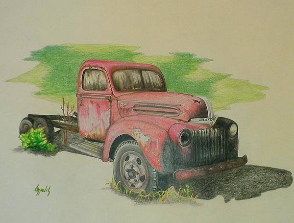 Old Red Truck Drawing - Once Red by Lew Davis