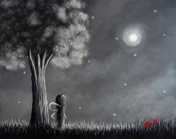 Wall Art - Painting - Once Upon A Dreamy Night Original Fairy Art by Erback Art