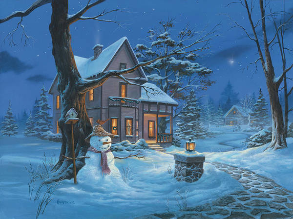 Snowman Wall Art - Painting - Once Upon A Winter's Night by Michael Humphries