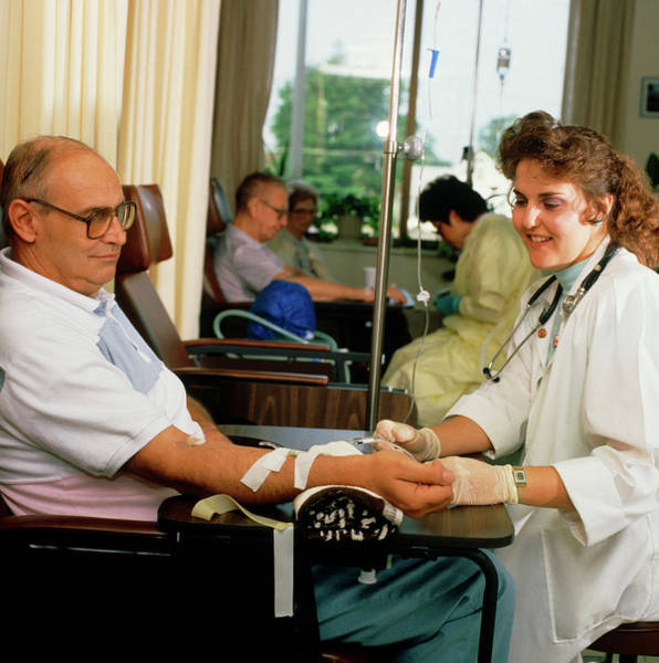 Patient Photograph - Oncology Patient Receiving An Injection. by Stevie Grand/science Photo Library