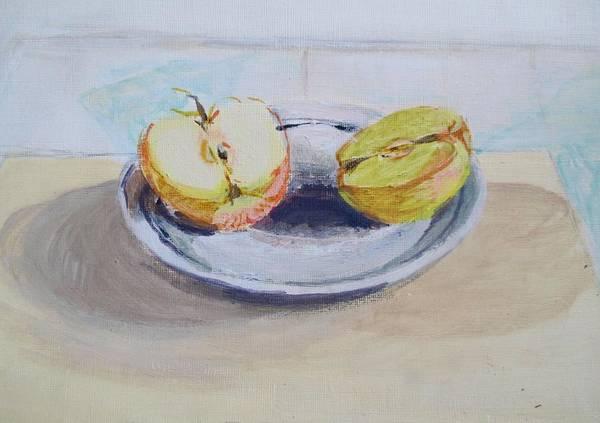 Manzana Wall Art - Painting - One Apple by Maria Mimi
