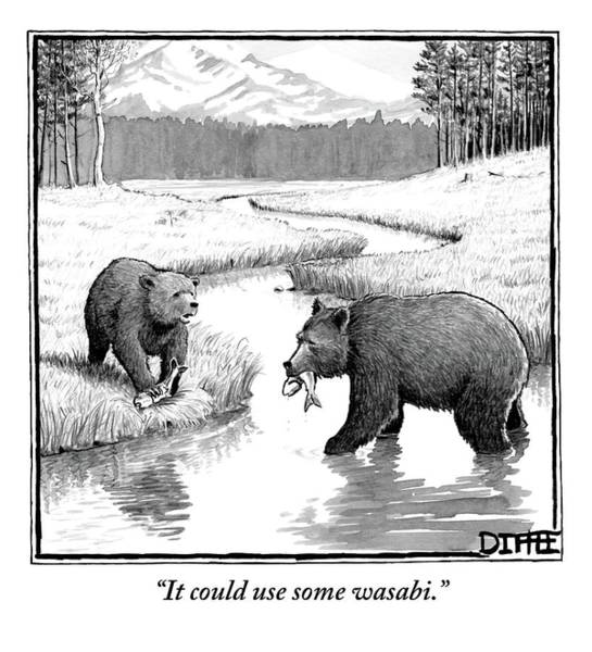 Wall Art - Drawing - One Bear Speaks To Another As They Catch Fish by Matthew Diffee