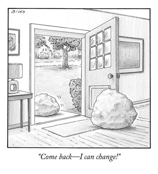 Door Drawing - One Boulder Speaks To Another Boulder That by Harry Bliss