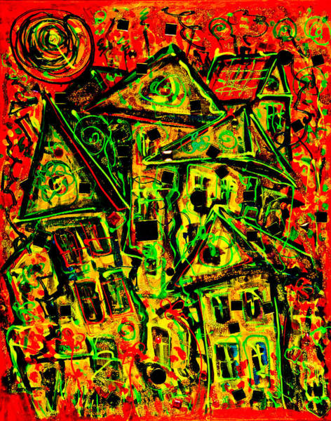 Painting - One Crazy House 2 - Red by Maxim Komissarchik
