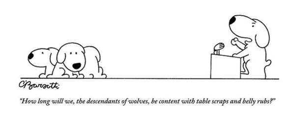2010 Drawing - One Dog Speaks On A Podium To Several by Charles Barsotti