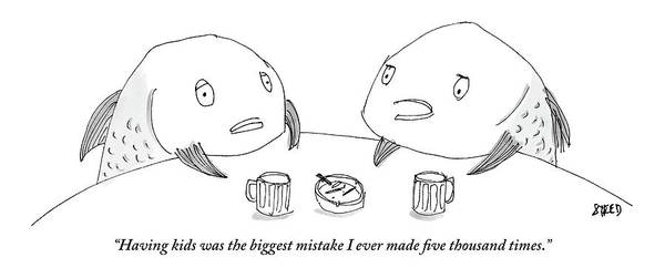Beer Drawing - One Fish Speaks To Another As They Share Beers by Edward Steed