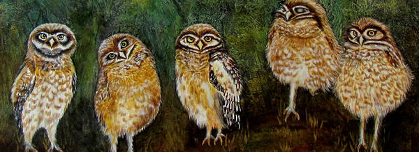 Burrowing Owl Painting - One Is Sleeping by Susan Duxter