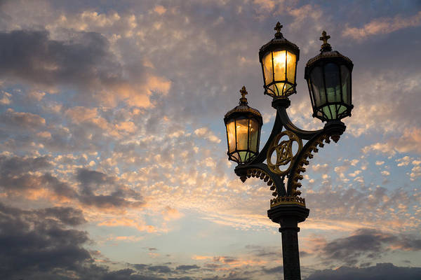 Juxtaposition Photograph - One Light Out - Westminster Bridge Streetlights - River Thames In London Uk by Georgia Mizuleva