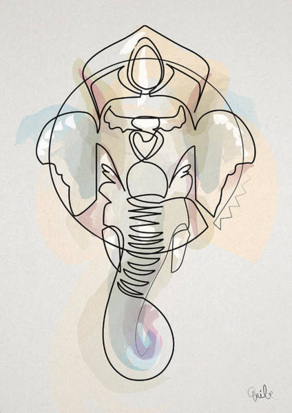 Abstracts Digital Art - One Line Ganesh by Quibe Sarl