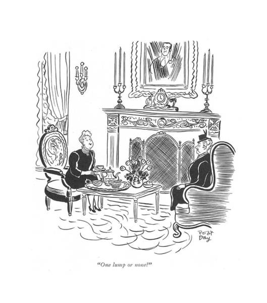 Lunch Time Drawing - One Lump Or None? by Robert J. Day