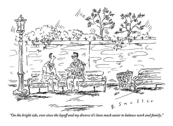 Divorce Drawing - One Man To Another On A Park Bench by Barbara Smaller