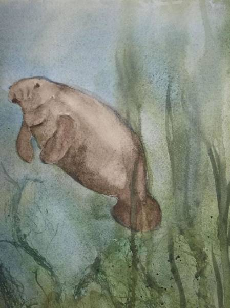 Painting - One Manatee by Audrey Bunchkowski