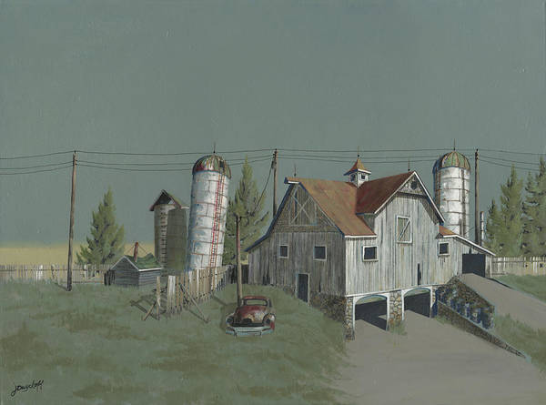 Old Barns Wall Art - Painting - One Man's Castle by John Wyckoff