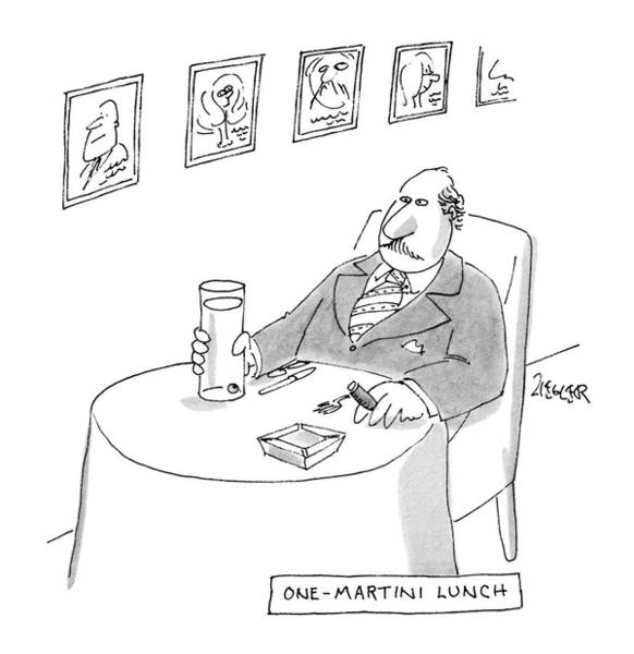 Miserable Drawing - One-martini Lunch by Jack Ziegler