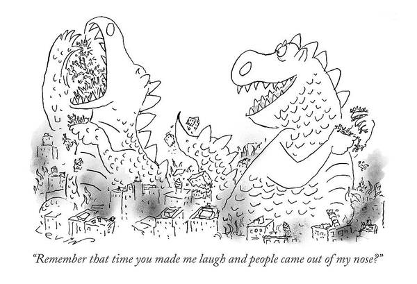 Cartoon Character Drawing - One Monster Devouring A City by Arnie Levin
