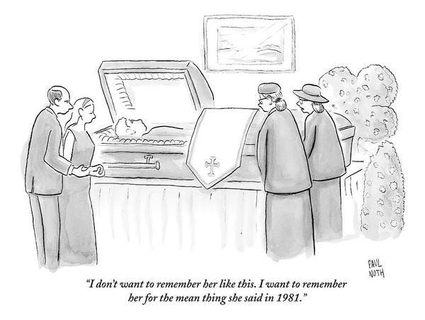 1981 Drawing - One Mourning Woman At A Funeral Comments by Paul Noth