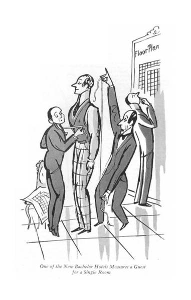 Single Drawing - One Of The New Bachelor Hotels Measures A Guest by Peter Arno
