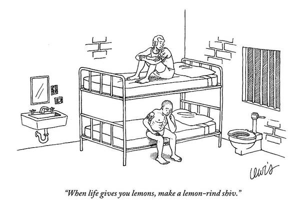 Prison Drawing - One Prisoner Sitting On The Top Of A Bunk Bed by Eric Lewis
