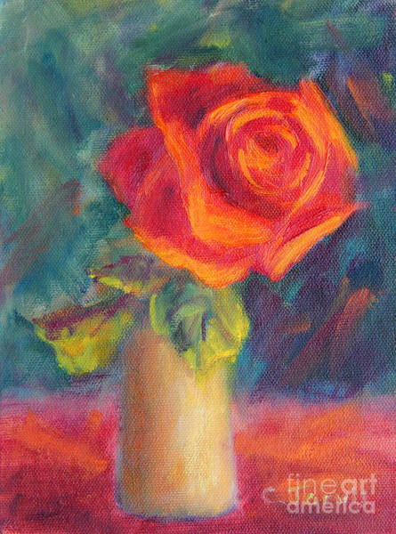 Painting - One Red Rose by Carolyn Jarvis
