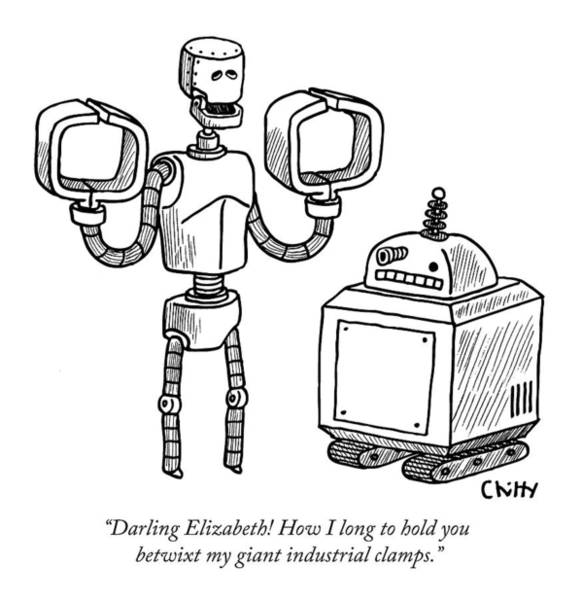 Poetry Drawing - One Robot Speaks To Another by Tom Chitty