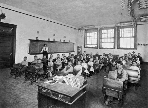 1900 Photograph - One Room School by Underwood Archives