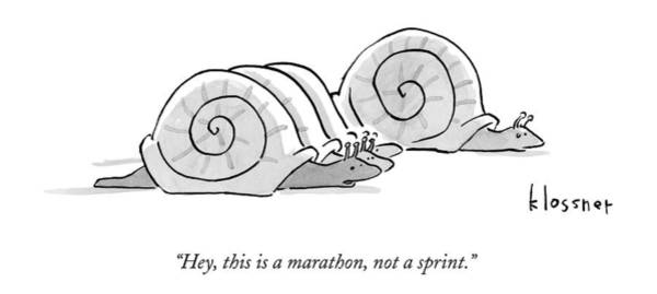 Race Drawing - One Snail Pulls Slightly Ahead Of A Few Other by John  Klossner